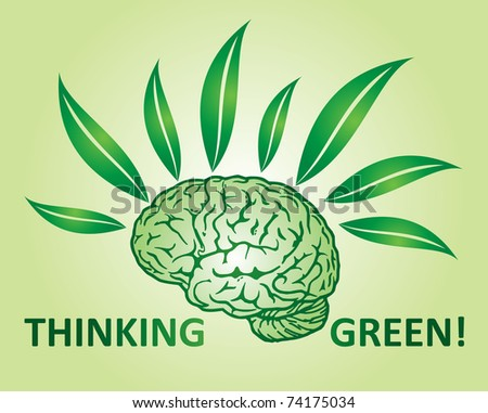 Thinking green environmental concept with human mind and leaf - stock vector