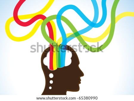 Thinking Head - Creativity, Brainstorm and Dreams - stock vector