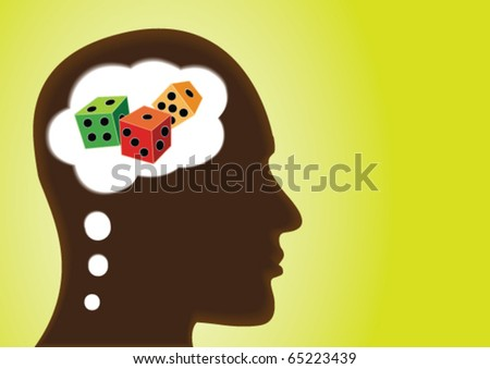 Thinking Head â?? Depicting Risk, Luck, Uncertain, Jackpot and gamble - stock vector