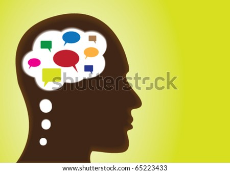 Thinking Head â?? Depicting speech-bubbles, social networking, discussion, chat, observation and many open ended concepts - stock vector