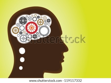 Thinking Head Gears and Cogs - Creativity, Brainstorm and functioning of the human brain - stock vector