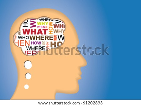 Thinking head with a lot of questions - Why, How, When, Where, who, Why . - stock vector