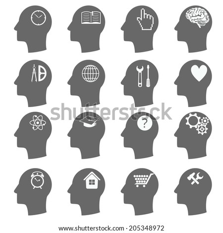 Thinking Heads Icons. vector - stock vector