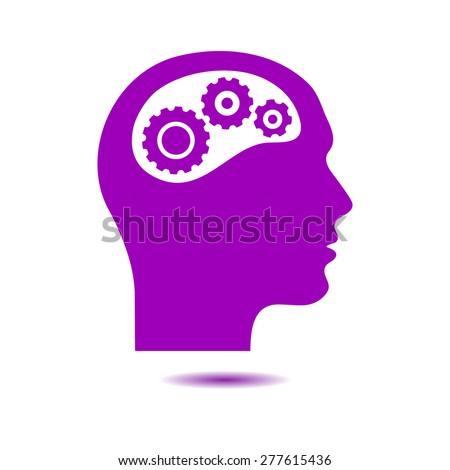 Thinking icon.  Silhouette of gear in head  - stock vector