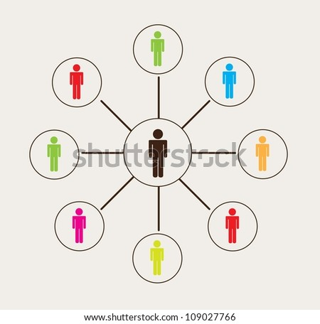 thinking man by other men. vector illustration - stock vector
