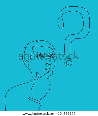 Thinking man with a question mark - stock vector