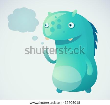 Thinking Monster - stock vector