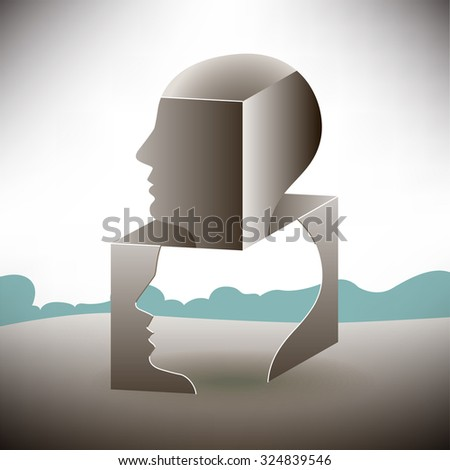 Thinking outside of the box landscape - stock vector