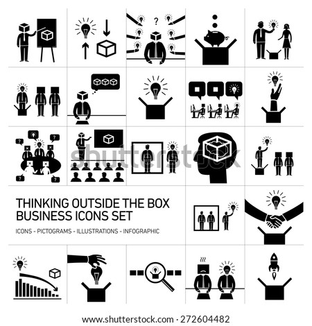 thinking outside the box vector business icons set | modern flat design conceptual pictograms and illustrations isolated on white background - stock vector