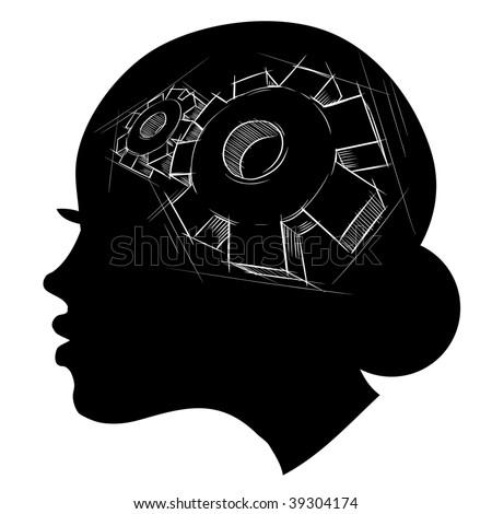 Thinking process. Hand drawn vector illustration. - stock vector