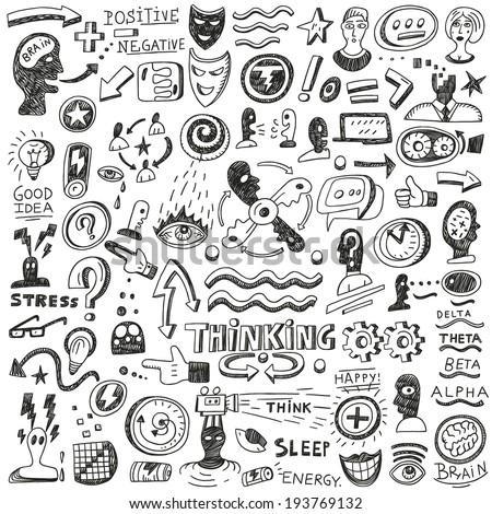 Thinking ,psychology - doodles set - stock vector