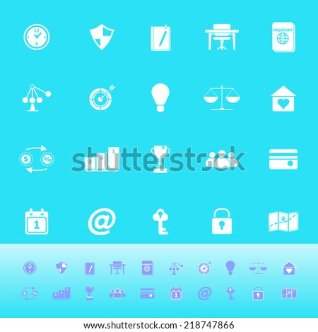 Thinking related color icons on light blue background, stock vector