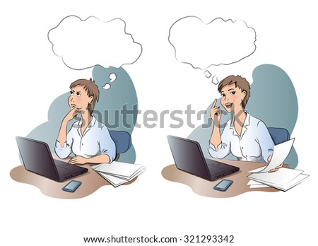 Thinking woman and woman with idea on the office. Young woman with thought bubble sitting at workplace. Vector illustration