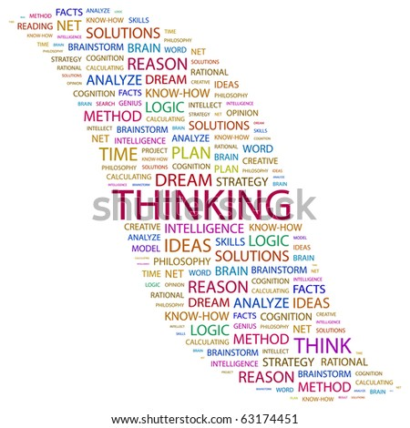 THINKING. Word collage on white background. Illustration with different association terms. - stock vector
