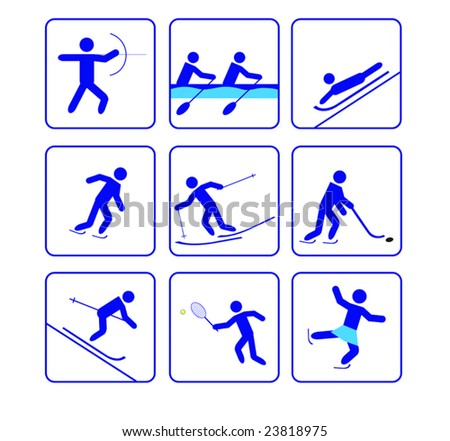 Third sports stylize icons set in vector - abstract emblems. Jpeg version also available