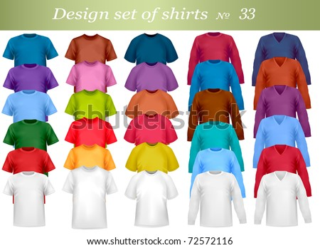 Thirty-third design set of shirts. Vector illustration. - stock vector