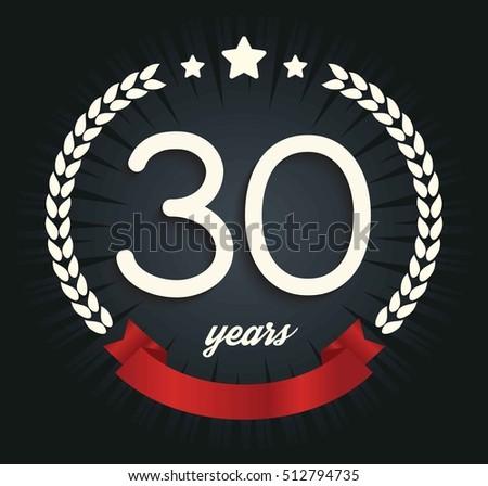 Thirty Years Anniversary Banner 30th Anniversary Stock Vector