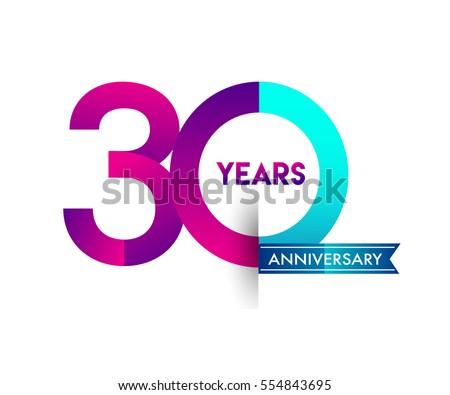 Thirty Years Anniversary Celebration Logotype Colorfull Stock Vector