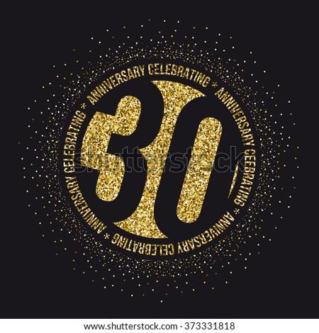 Thirty Years Anniversary Celebration Logotype 30th Stock Photo