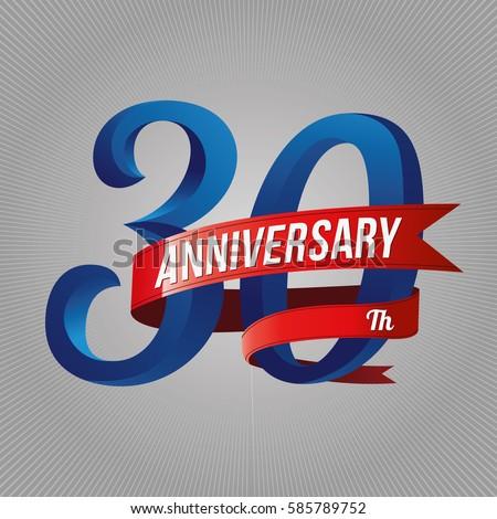 Thirty Years Anniversary Logo Red Ribbon Stock Vector 585789752