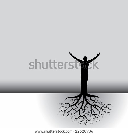 This black & white vector background has a man with tree roots - stock vector