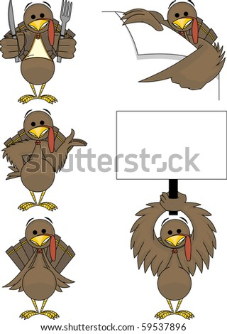 This holiday turkey comes in 5 different poses! Separated into layers for easy editing. - stock vector