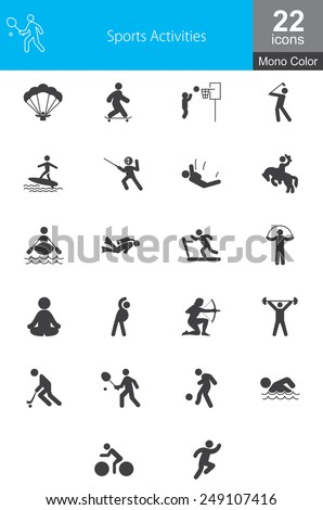 This icon set contains sport related activities. This can be used for websites, web applications, and mobile applications. - stock vector