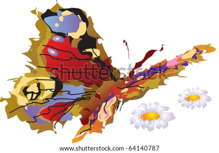 this illustration depicts a wonderful butterfly flies above flowers - stock vector