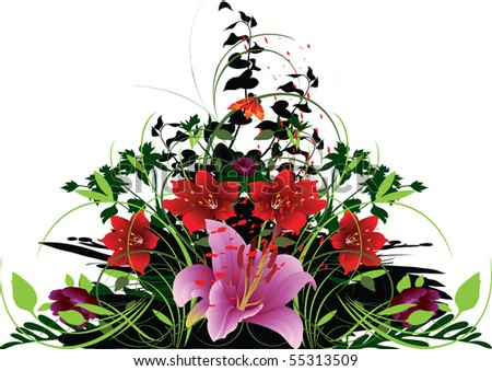 this illustration depicts beautiful floral compositions - stock vector