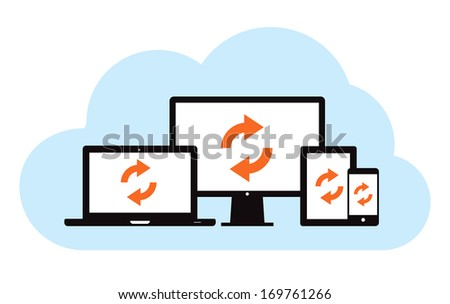 This image is a vector file representing a cloud backup sync concept. / Cloud Backup Sync / Cloud Backup Sync - stock vector