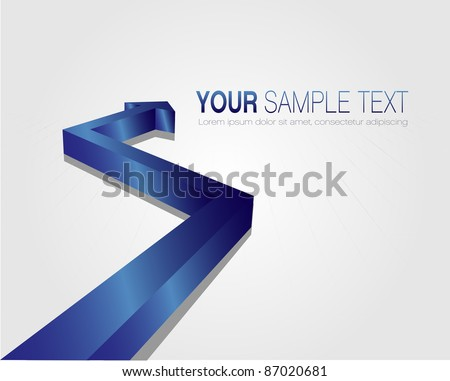 This image is a vector file representing a 3d blue arrow,  all the elements can be scaled to any size without loss of resolution. - stock vector