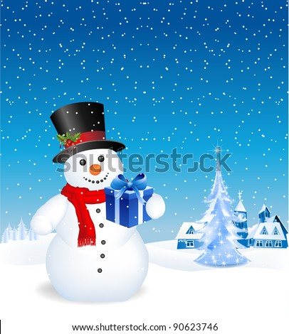 This image is a vector file representing a 3d happy snowman with a gift,  all the elements can be scaled to any size without loss of resolution. - stock vector