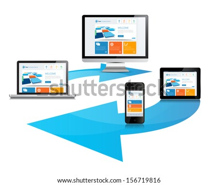 This image is a vector file representing a internet cloud media devices sync concept. / Cloud Sync Media Devices / Cloud Sync Media Devices - stock vector