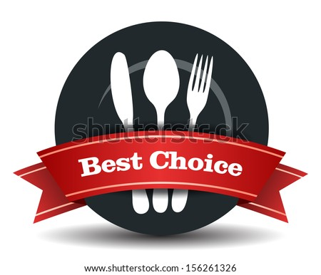This image is a vector file representing a restaurant badge, plate with fork, knife and spoon. / Restaurant Food Quality Badge / Restaurant Food Quality Badge - stock vector