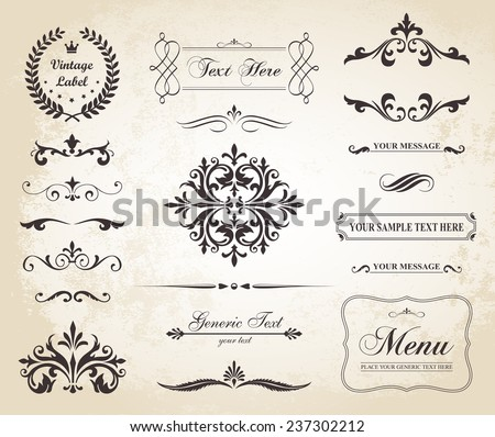 This image is a vector file representing a set of  Vintage Decorative Ornament Borders and Page Dividers./Vintage Vector Ornament Borders and Dividers/Vintage Vector Decorative Borders and Dividers - stock vector