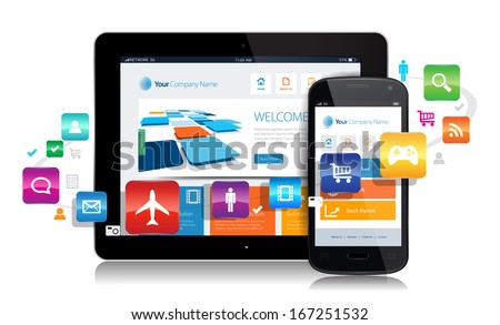 This image is a vector file representing a smartphone  and a tablet with a responsive design website surrounded by apps. - stock vector