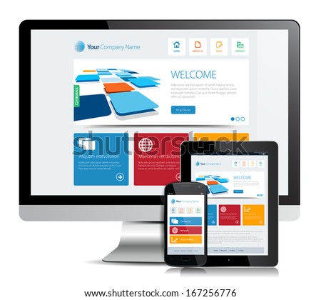 This image is a vector file representing a smartphone  and a tablet with a responsive design website. / Responsive App Design / Responsive App Design - stock vector
