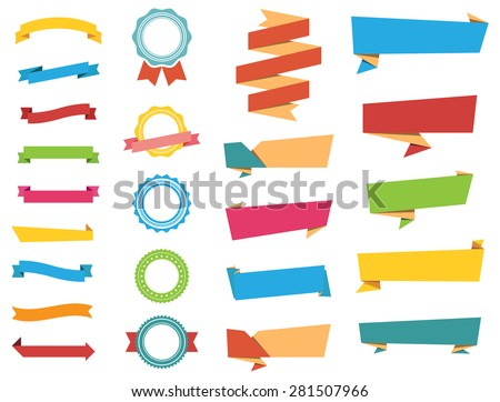 This image is a vector file representing Stickers, Labels Banners and Ribbons collection set./Vector Stickers, Labels, Banners and Ribbons/Vector Stickers, Labels, Banners and Ribbons - stock vector