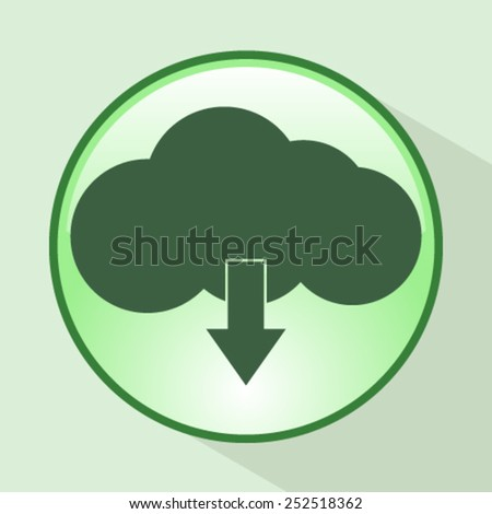 This image represents a cloud upload with apps illustration. / Cloud Apps - stock vector