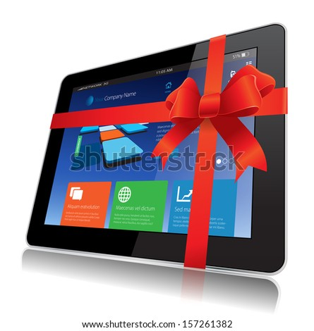 This image represents a Tablet Gift vector concept. / Tablet Gift / Tablet Gift - stock vector