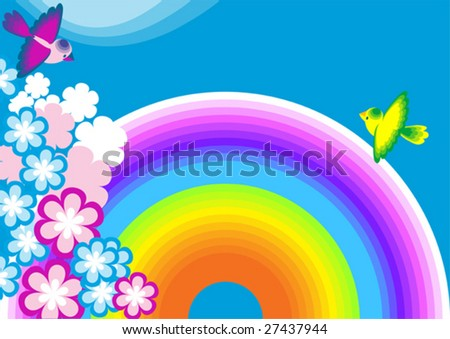 This is a background for the text with rainbow,  elements vegetative and birds