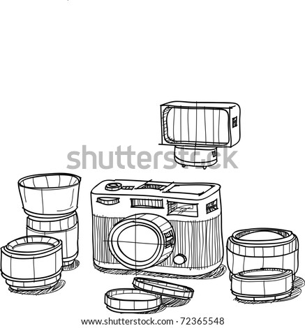 This is a camera body and lens option, ,sketch on my imagination - stock vector
