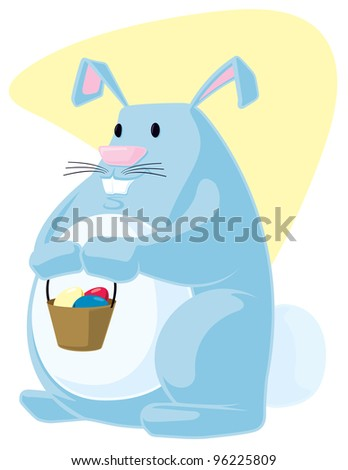 This is a cartoon vector illustration of the Easter Bunny holding a basket of colored eggs.