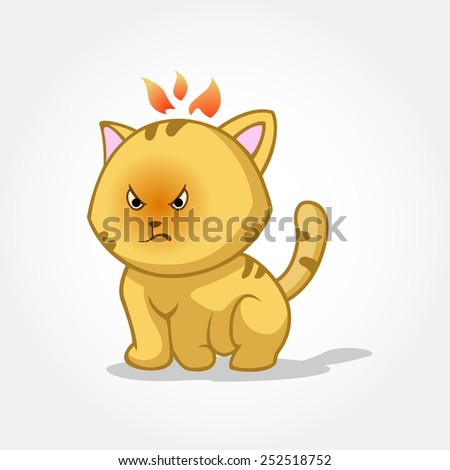 This is a cat cartoon vector illustration, this cat is Angry because of something. - stock vector