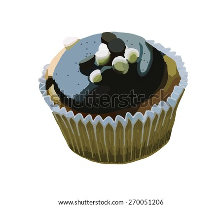 This is a cupcake. This is vector file created by hand sketch. - stock vector