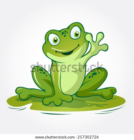 "This is a frog cartoon animal sitting on lotus leave, it's look like said ""hi..."" - stock vector"