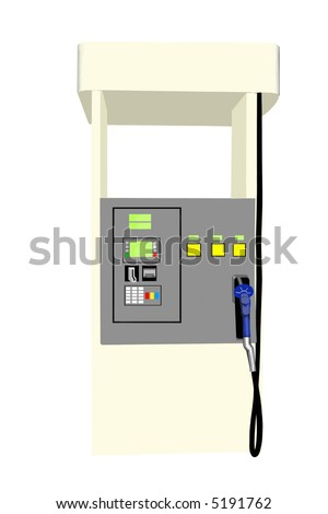 This is a picture of an electronic fuel pump with three choices of gas and credit card payment option isolated on a white back ground. - stock vector