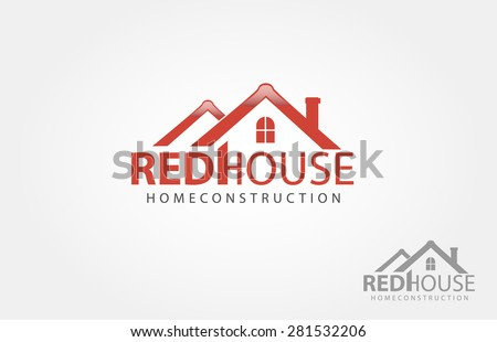 This is a real estate or property logo. Base of this image is a house roof with a window. - stock vector
