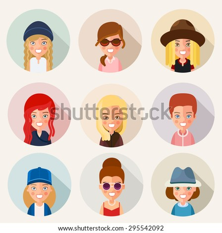 This is a set of cartoon characters girls. In the flat style. For avatars. eps8. Set 3. - stock vector