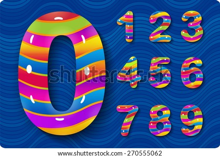 This is a set of numbers, they are glossy, multicolored. They are contained within the texture of waves. Zero 0 One 1 Two 2 Three 3 Four 4 Five 5 Six 6 Seven 7 eight 8 nine 9 - stock vector